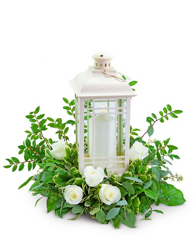 Classic White Rose Lantern from The Colony House, your florist in Shreveport, LA