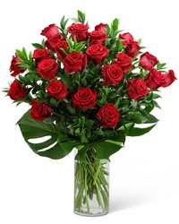 Red Roses with Modern Foliage (24) from The Colony House, your florist in Shreveport, LA