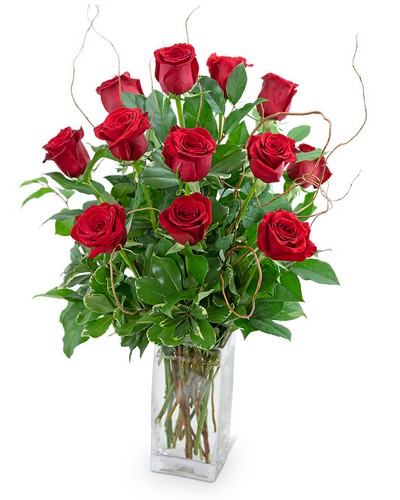 Dozen Red Roses with Willow from The Colony House, your florist in Shreveport, LA