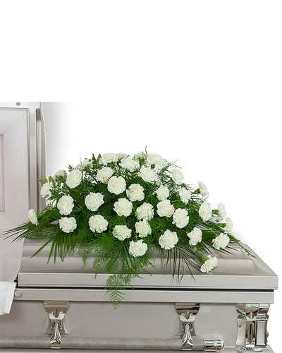Peaceful in White Casket Spray from The Colony House, your florist in Shreveport, LA