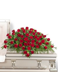 50 Red Roses Casket Spray from The Colony House, your florist in Shreveport, LA