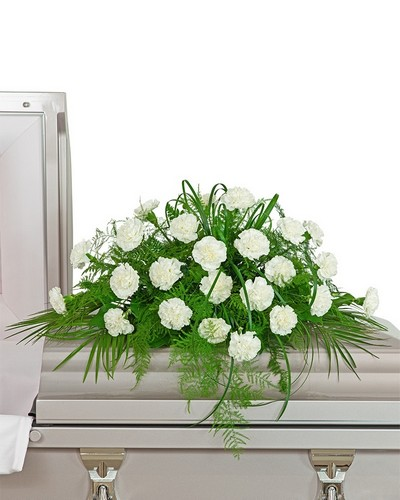 White Divinity Casket Spray from The Colony House, your florist in Shreveport, LA